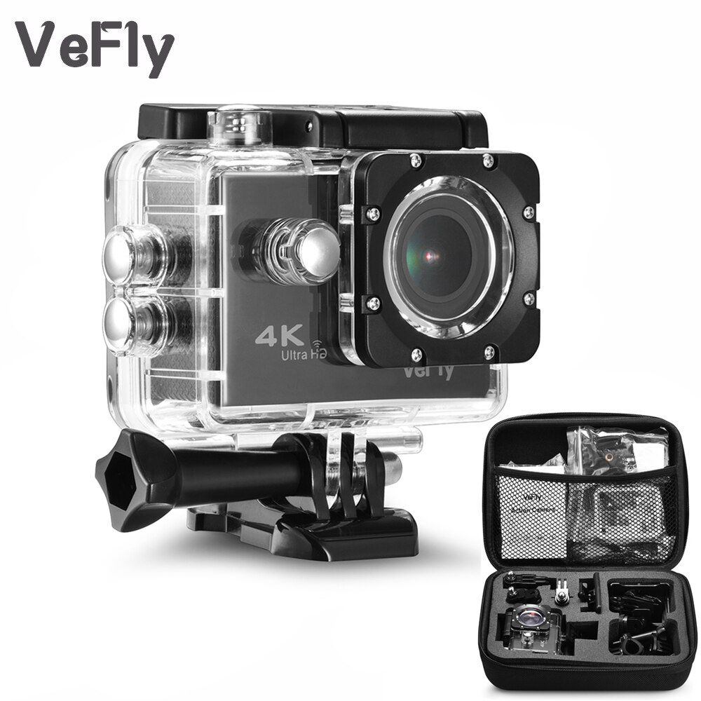 <font><b>VeFly</b></font> 2.0 inch Screen Wifi 1080P 4K Waterproof Sports Action Camera, black portable 16MP Sport Cam Go Pro Accessories case set
