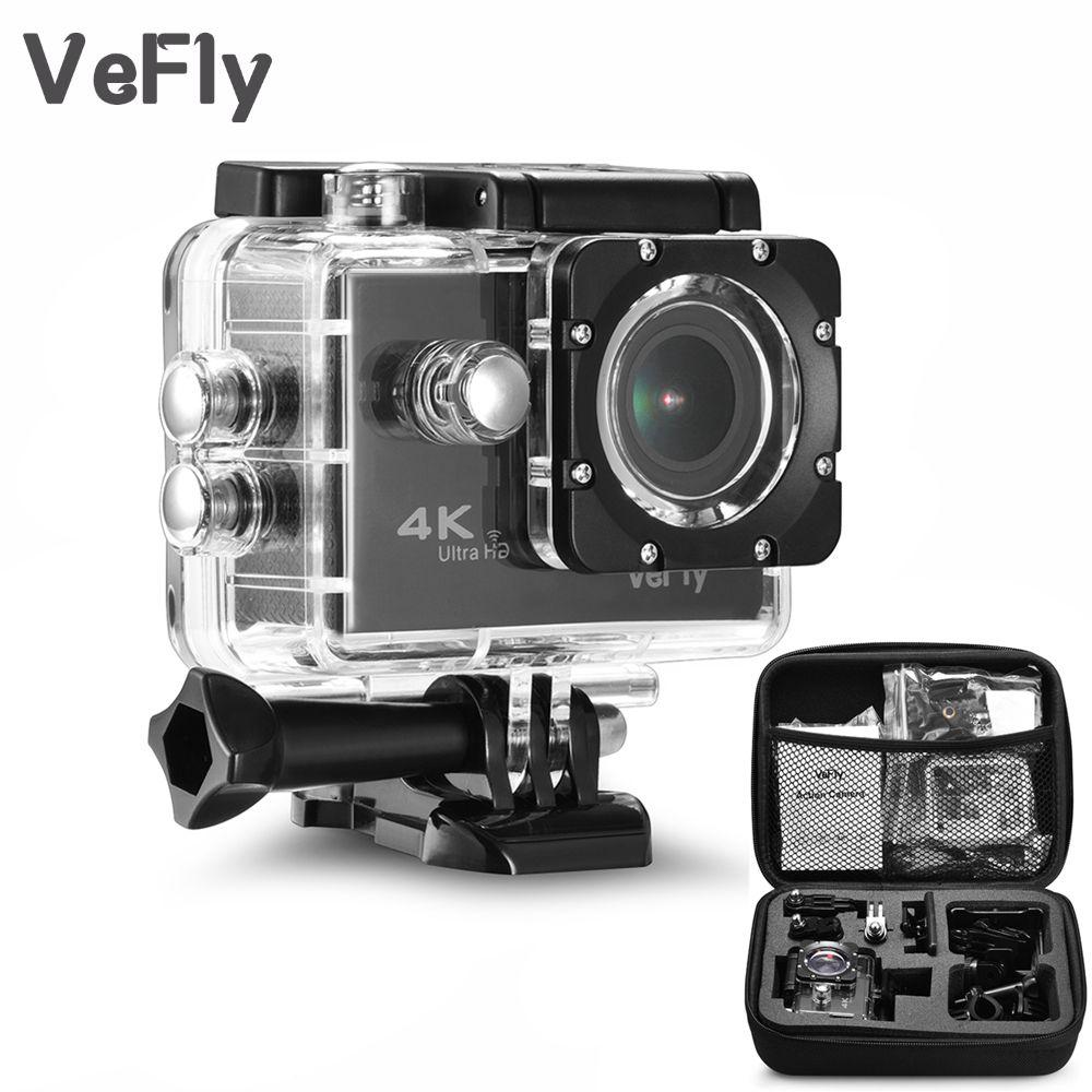 VeFly 2.0 pouce Écran Wifi 1080 P 4 K Étanche Action Sports Caméra, noir portable 16MP Sport Cam Go Pro Accessoires case set