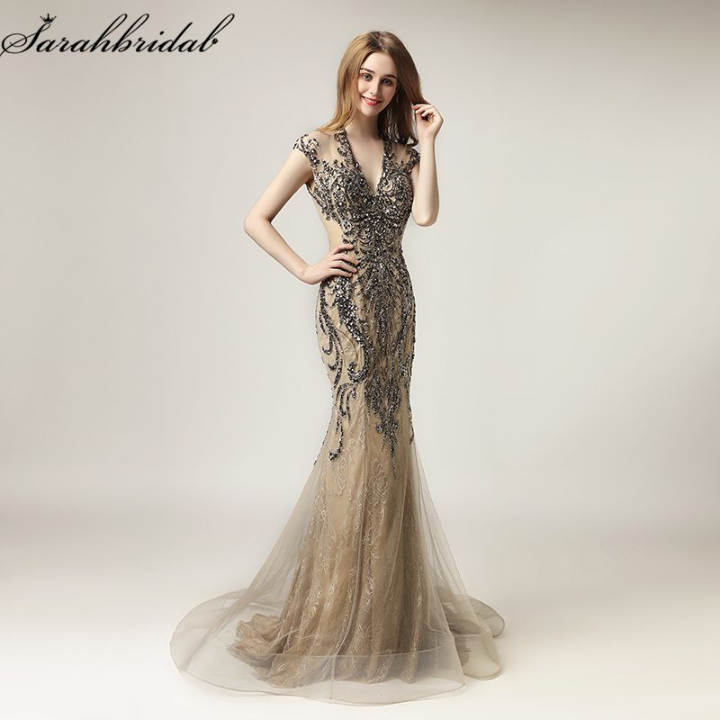 Vestido De Festa New Arrivals Sexy Mocha Mermaid Formal Evening Dresses 2018 With Crystal Beaded Tulle Robe De Soiree LSX430