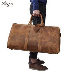 Для мужчин большой емкости натуральная кожа Дорожная сумка Прочный crazy horse кожаная дорожная сумка из натуральной кожи большой выходные сумк...