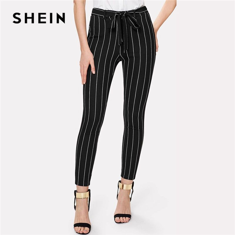 SHEIN Office Vertical Striped Skinny Pants Women Elastic Waist Belted Bow <font><b>Tapered</b></font> Trousers Spring New Elegant Workwear Pants