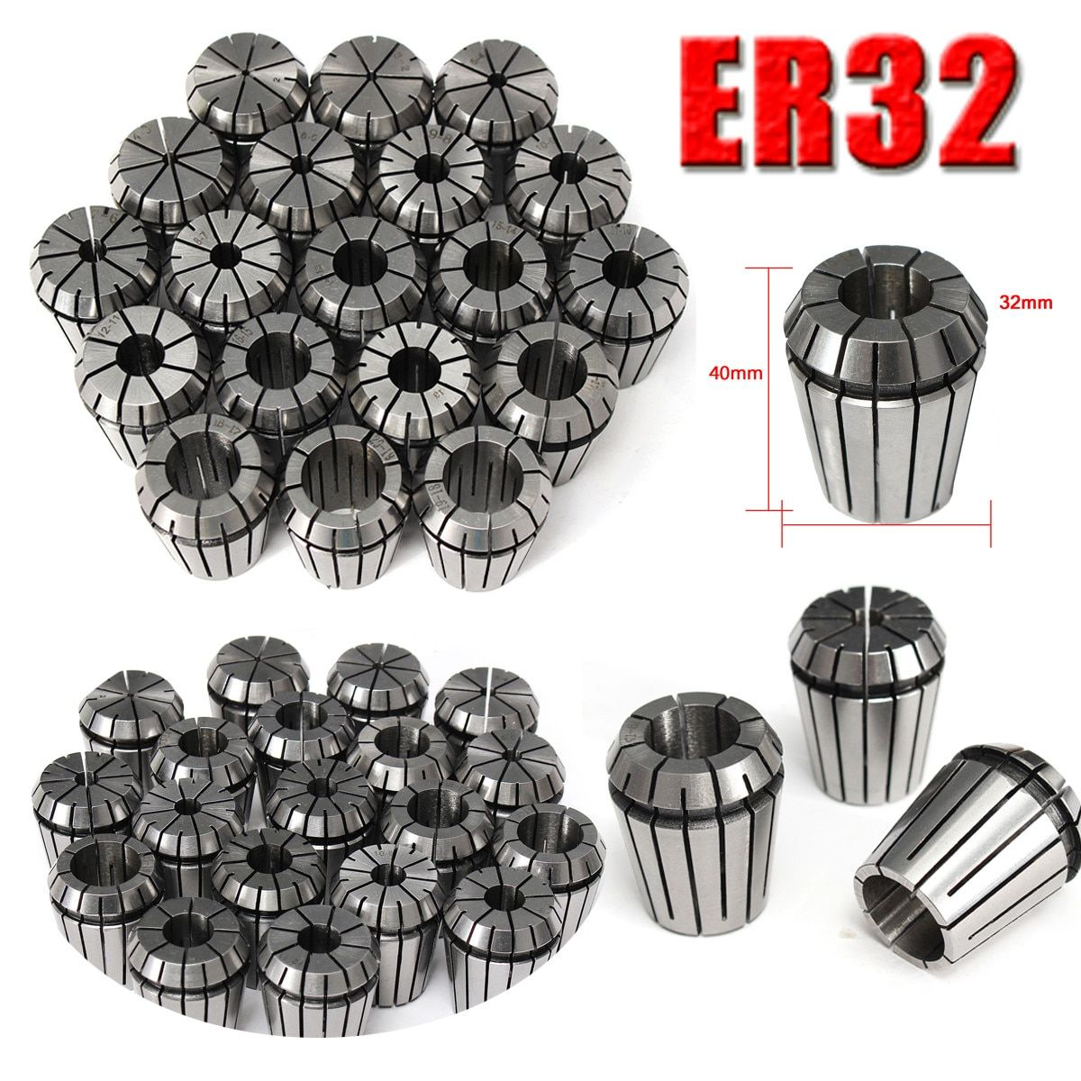 19pcs ER32 Collet Chuck Metric Precision 2-20mm For CNC Chuck Milling Engraving Tools Machine Tools Accessories Milling Cutter