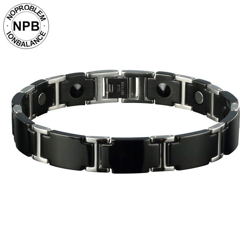 Noproblem 98 ion antifatigue magnétique puissance ras du cou licorne bio perles noir métal tourmaline germanium bracelet pour hommes