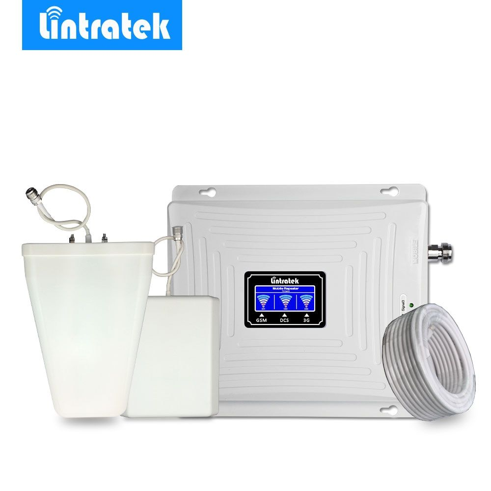 Lintratek Triple Band Cellular Signal Booster 2G 3G 4G 900MHz LTE 1800MHz 2100MHz WCDMA Mobile Phone Signal Amplifier Repeater @