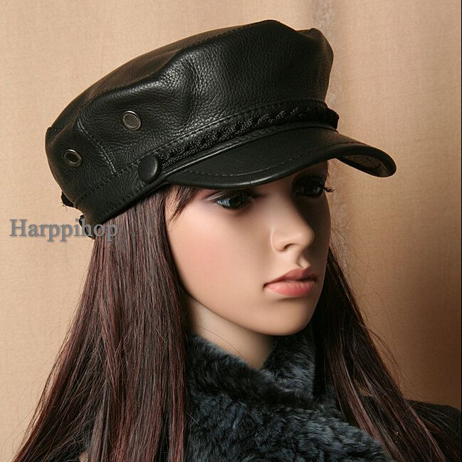 2017 new arrival super  quality For students Genuine Leather hat genuine winter warm cowhide leather  hat autumn spring caps