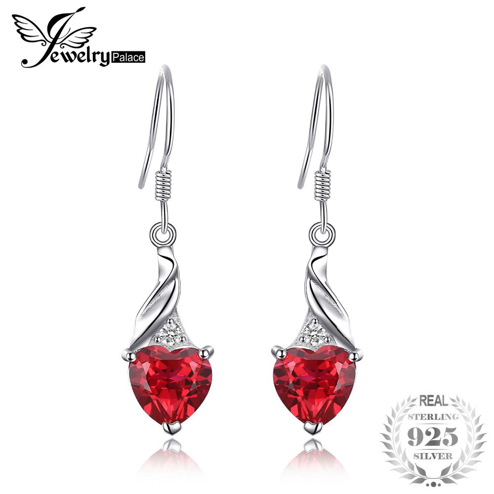 JewelryPalace Vintage 0.4ct Round Created Red Ruby Pave Stud Earrings 925 Sterling Silver Wedding Fine Jewelry New Arrival