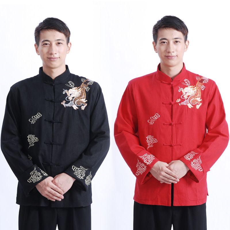 Traditionnel Hommes Kung Fu Costume Veste de Style Chinois Cheongsam Rouge Vêtements Âgées Oriental Vêtements Magasin Mens Costumes De Lin
