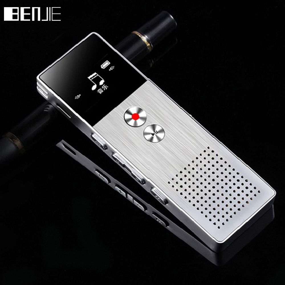 BENJIE 8GB Mini Flash Digital Voice Recorder Dictaphone MP3 Music Player Gravador de voz Support TF Card Built-in Loudspeaker
