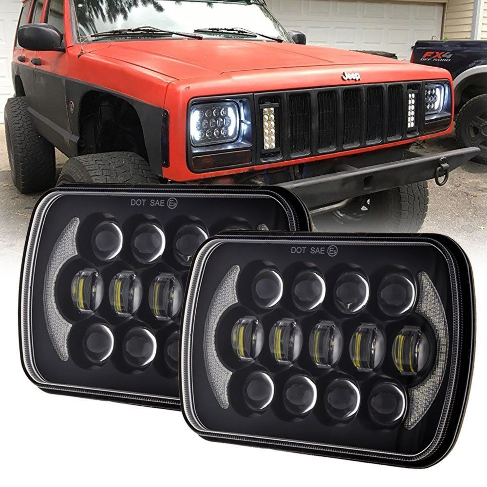 2018 new 5x7 inch 7'' Square headlight 105W Hi/Lo Beam for 1986-1995 for Jeep Wrangler YJ and 1984-2001 Jeep Cherokee XJ