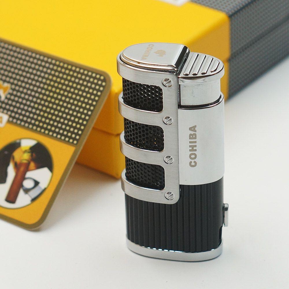 Comprador europa Cohiba Grillado Stripes Estilo Gas Butano 3 Antorcha Jet Llama Encendedor de Cigarros Con Ponche de Cigarrillos Encendedores A Prueba de Viento