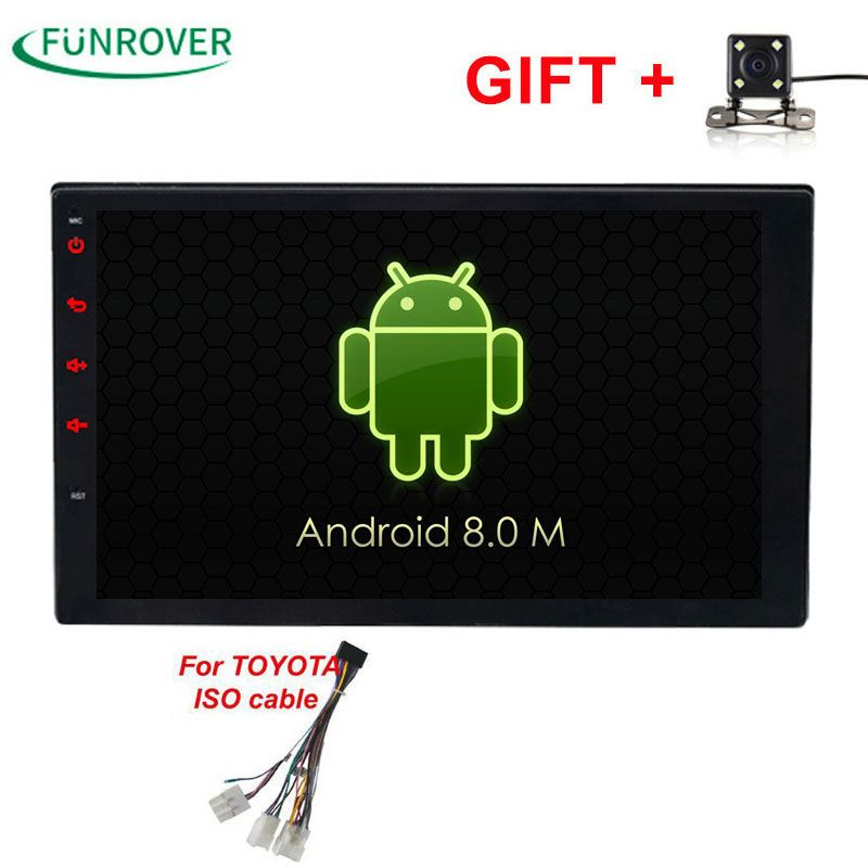 2017 New Funrover Android 8.0 Quad-core 2g +32g Rom Car Dvd Player For Toyota Hilux Vios Old Camry Prado Rav4 2003-2008 Rds