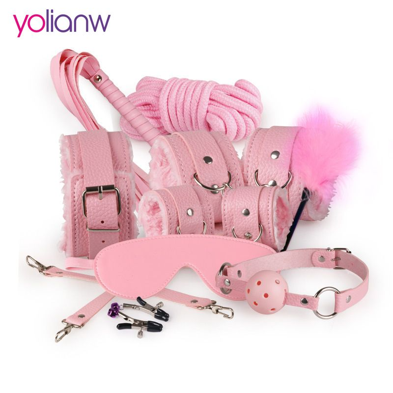 Sex Bondage Kit Set 10 Pcs Sexy Product Set Adult Games Toys Set Hand Cuffs Footcuff Whip <font><b>Rope</b></font> Blindfold Couples Erotic Toys
