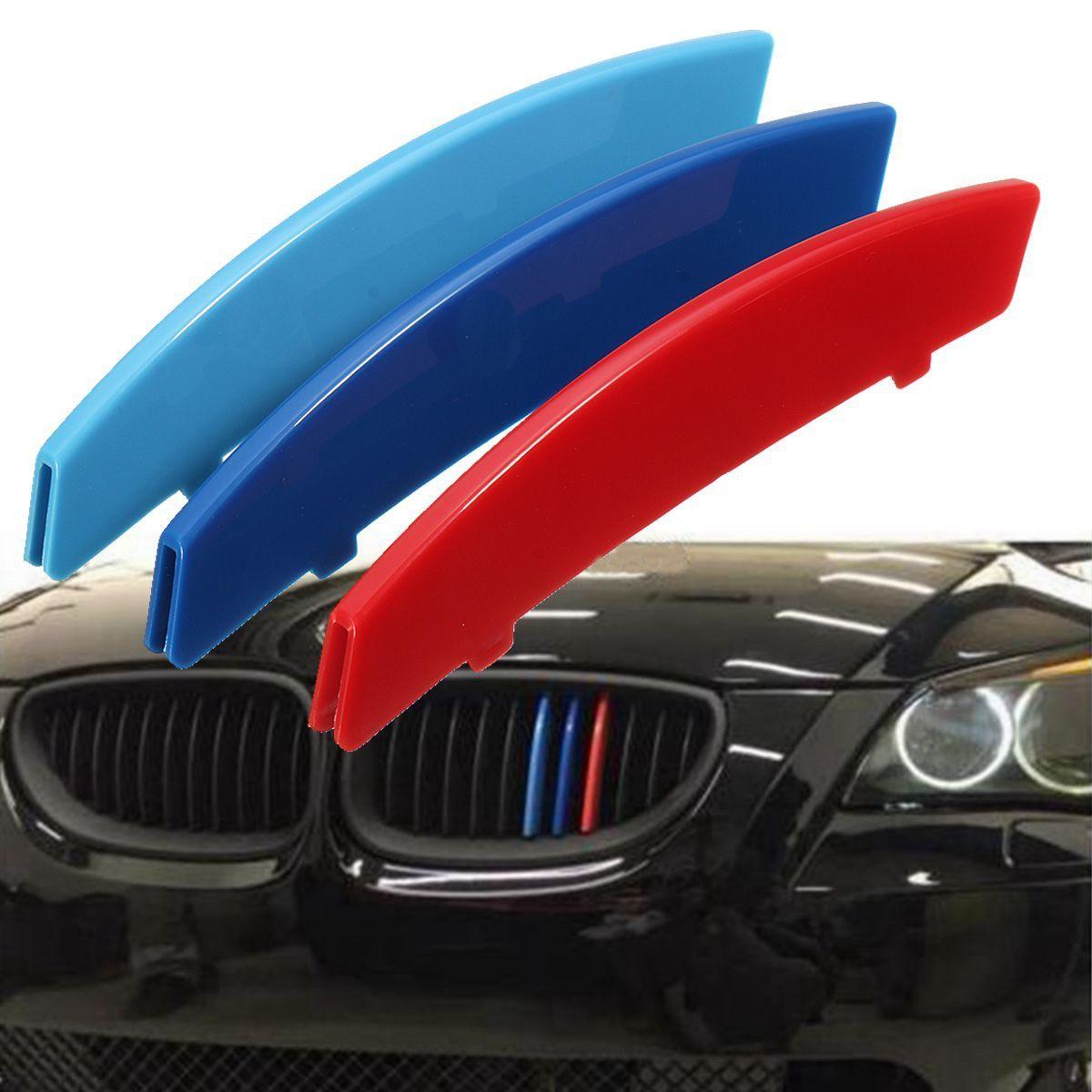 3 teile/satz 3D M Auto Styling Auto Kühlergrill Sport Streifen Abdeckung Für BMW 5 E60 2004-2010