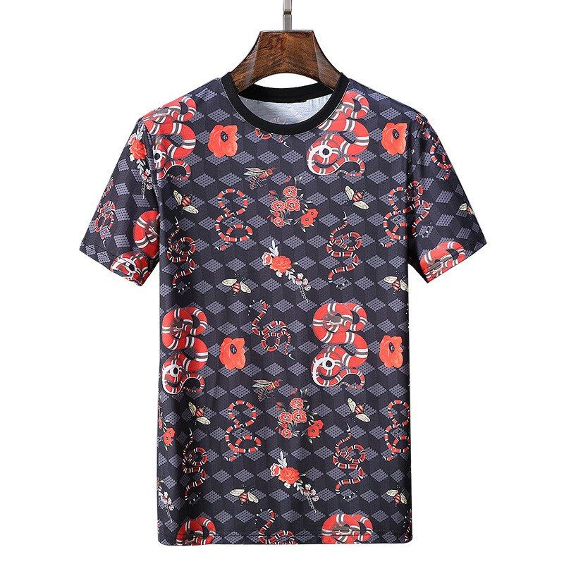 2018 New Brand Mens Bees and Snakes Printed T Shirts Short Sleeve O Neck Slim Fit Mercerized Cotton Tees Camiseta Masculina 3XL