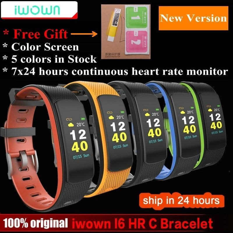 IWOWN I6 HR C Smart band Color <font><b>Screen</b></font> Heart Rate Monitor Smart bracelet Sport Wristband Smart Band Fitness Tracker VS Mi Band 1S