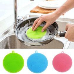 Nouveau 1 PC Chaude Multi-fonction Silicone Plat Laveur À Laver Éponge Brosse À Vaisselle Cuisine Outil