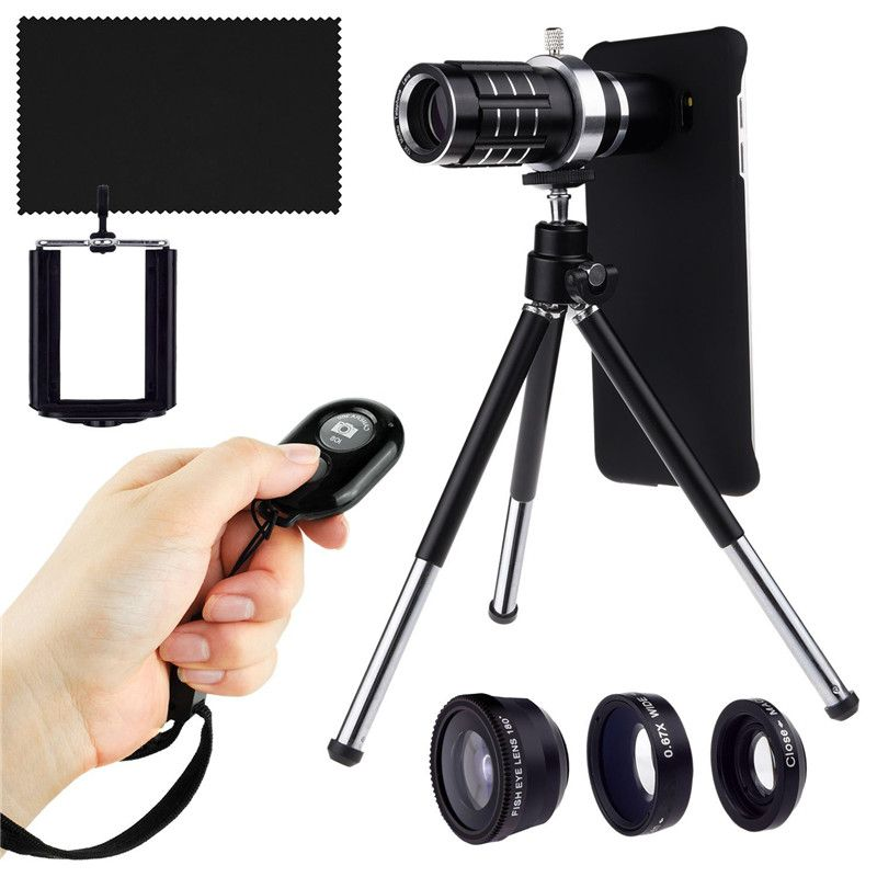 For Samsung Galaxy S7 Edge S8 PLUS Camera Shutter Remote Kit-12x Telephoto Zoom Lente Lens/Fisheye Lens/2 In 1+Holder Cover Case
