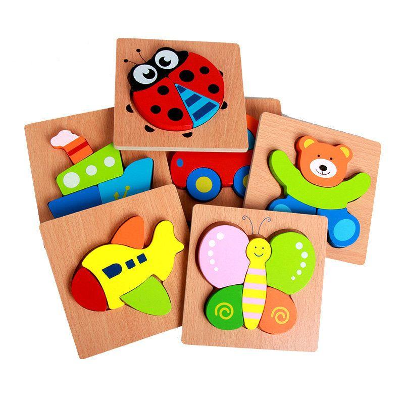 Envío libre alcance de transporte de Animales rompecabezas/de madera niños cognitiva placa forma maquillaje bebé primeros juguetes educativos 1-3 años