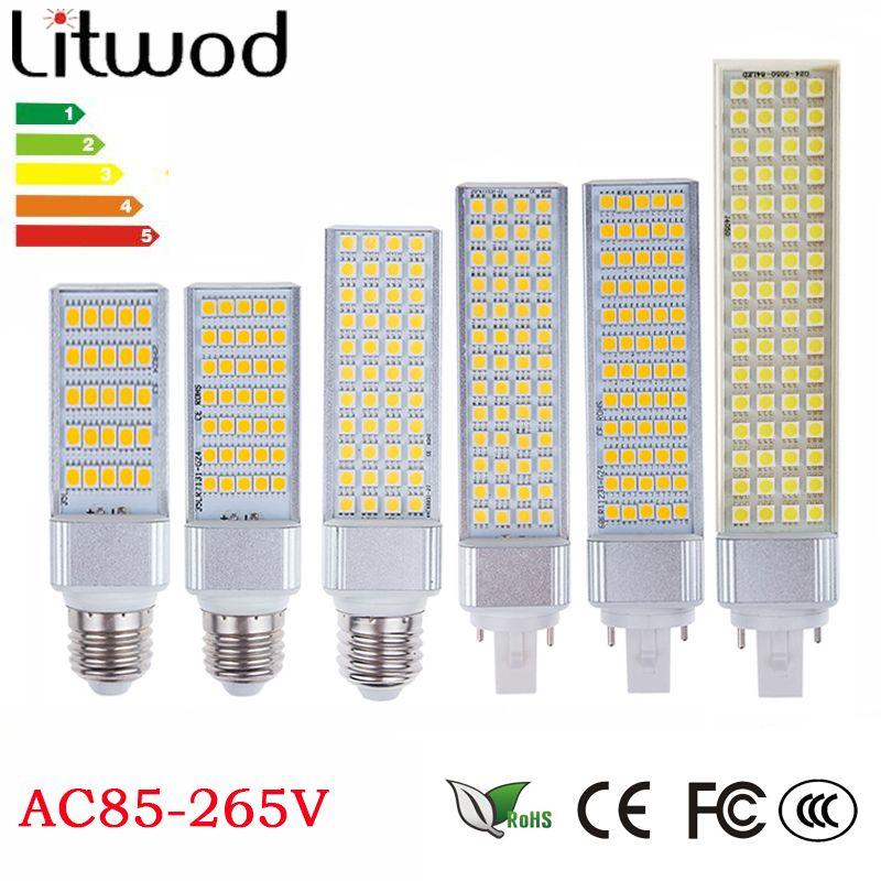 Z30 Lampada G23 G24 E27 E14 5 W 7 W 9 W 11 W 12 W 13 W 85 V-265 V/AC Horizontal Plug lampe SMD5050 Bombillas LED Maïs Ampoule Spot lumière