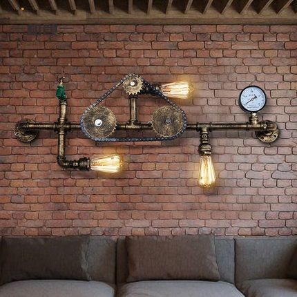 Nordic Loft Style Iron Water Pipe Lamp Edison Wall Sconce Antique Wall Light Fixtures For Indoor Vintage Industrial Lighting