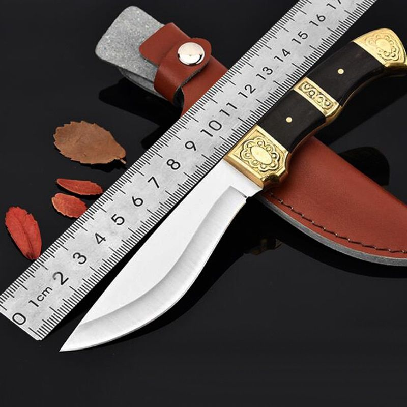 Fixed Knives Mirror 440 Blade Wood Handle Straight Knives Camping Tactical Knife Pocket Ridge EDC Survival Hunting Tools