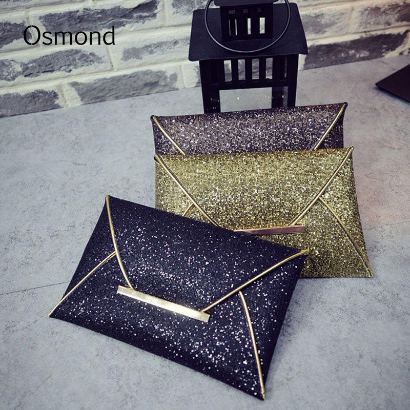 Sac de soirée femme Osmond pochette paillettes enveloppe pochette noir sac à main fête Banquet sac paillettes pochettes or sacs à main Bolsas Mujer