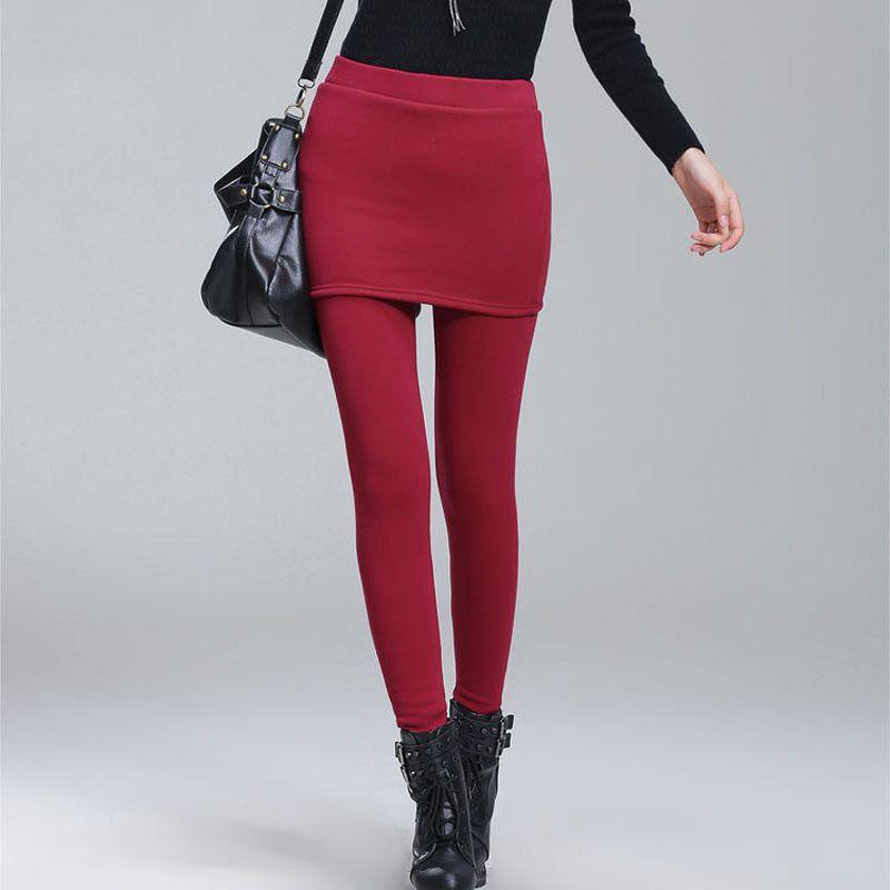 Add Fleece Lady Warm Skinny Pants Plus Size S-4XL Skirt + Long Trousers Women Black Winter Leggings