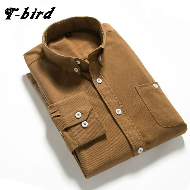 T bird Shirts Men Long Sleeves Corduroy Dress Shirt  Casual Men's Shirt  2107 Brand Fashion Solid Color Male Slim Fit  Shirt 5XL