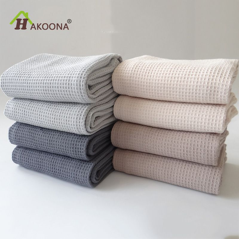 HAKOONA 42X63CM 4 Pieces/Set Cotton Table Napkins Home Kitchen Waffle Pattern Tea Towel Absorbent Dish Cleaning Towels