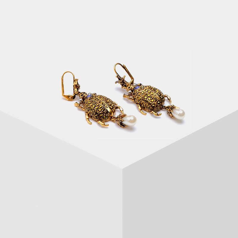 Amorita boutique New fashion Silver starfish beetle pearl pendant earrings