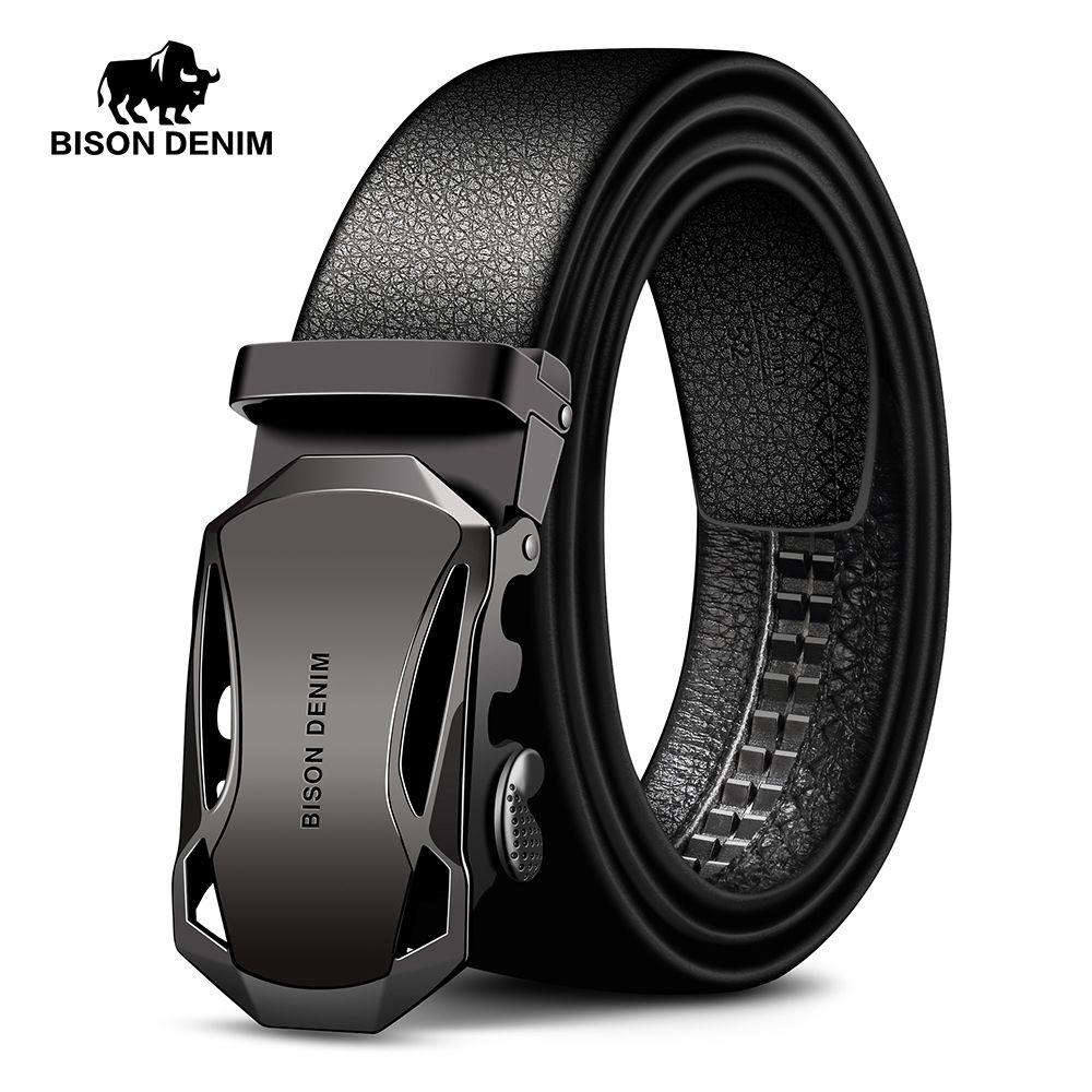 BISON DENIM Men's Belt Cow Leather Belts Brand Fahsion Automatic Buckle Black Genuine Leather Belts for Men 3.4cm <font><b>Width</b></font> N71314