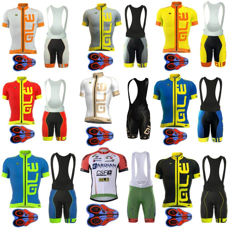2017 Pro Team Ale Cycling Jersey Bicycle Clothing Short Sleeve shirt 9D Pad bib shorts set Breathable Quick Dry Ropa Ciclismo E2