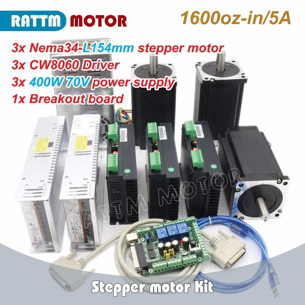 3Axis CNC Nema34 1600oz-in Stepper Motor 154mm /5.0A & Driver 6A/80VDC 256 Microstep from RATTM MOTOR