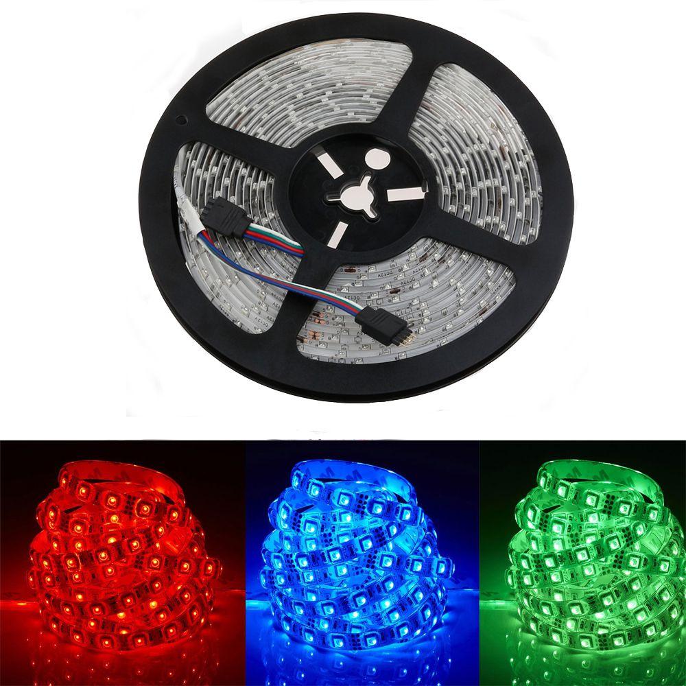 LED bande 5050 DC12V flexible lumière 60 LED s/m étanche bande lumière, 5 m/lot blanc, bleu, vert, rouge, jaune, RGB