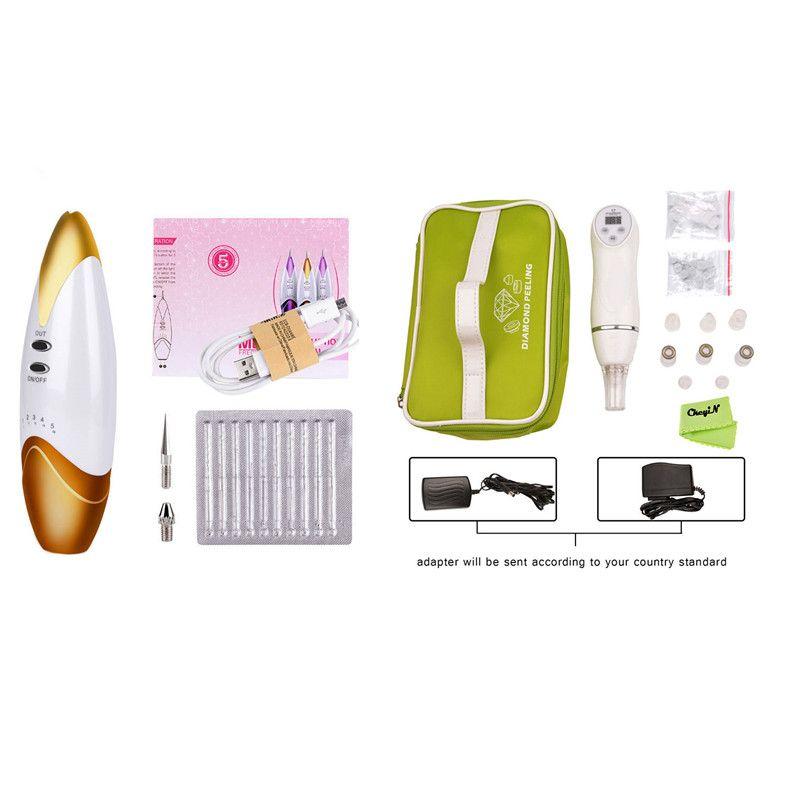 6 Tip Facial Care Beauty Device Diamond Dermabrasion Removal Scar Acne Pore Peeling Machine +Laser Spot Wart Mole Remover Pen 36
