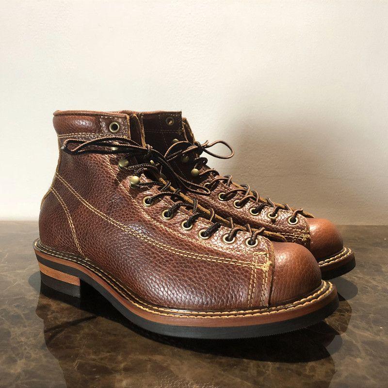 Herren Frühling Winter Schuhe Runde Kappe Top Qualität Vintage Echt Leder Rindsleder Stiefeletten Casual Motorrad Stiefel Unisex Großen Größe