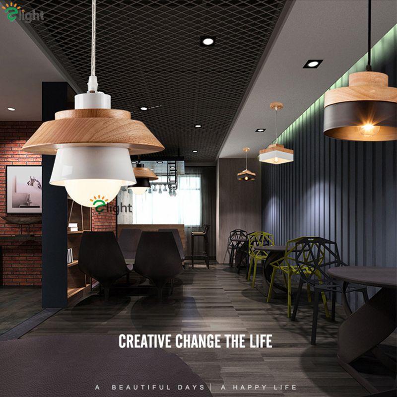 2pcs/Lot Europe Pastoral Restaurant Solid Wood Pendant Light Simple Metal Korea Style Led Hanging Lamp For Dining Room Cafe