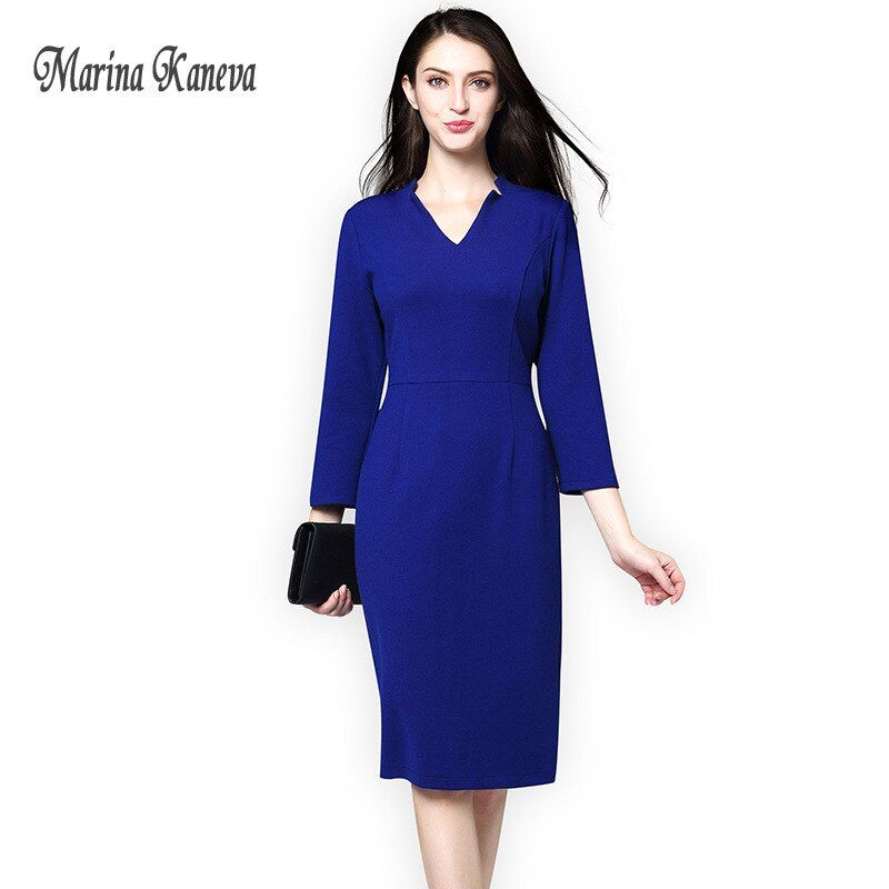 Women vintage ol office dress Solid Blue/black Female Ladies Slim OL Vestidos Bodycon Winter Women Office Female Dress Robe 4XL