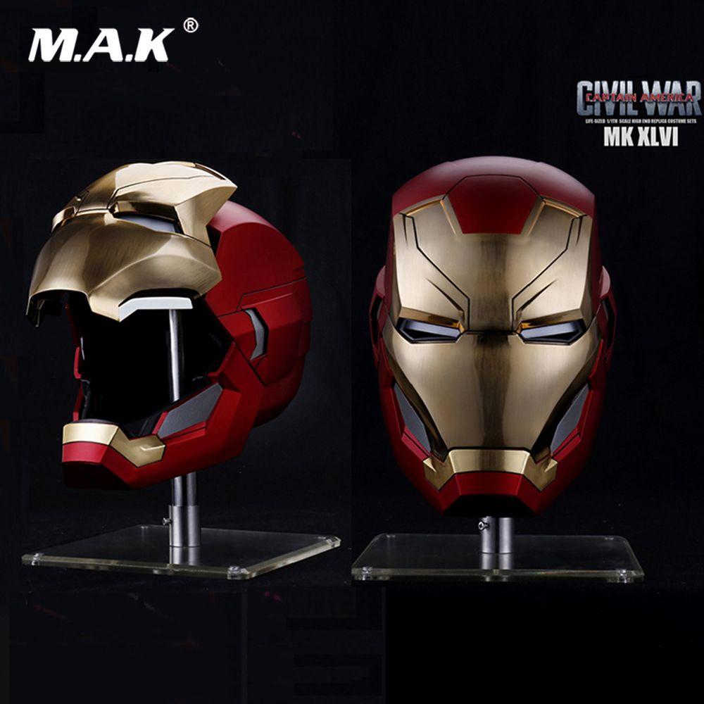 In Lager Kapitän Amerika Bürgerkrieg 1/1 Die Avengers 4 Eisen Mann MK46 Helm Automatische Auf-off Elektrische Modell für Fans Geschenke