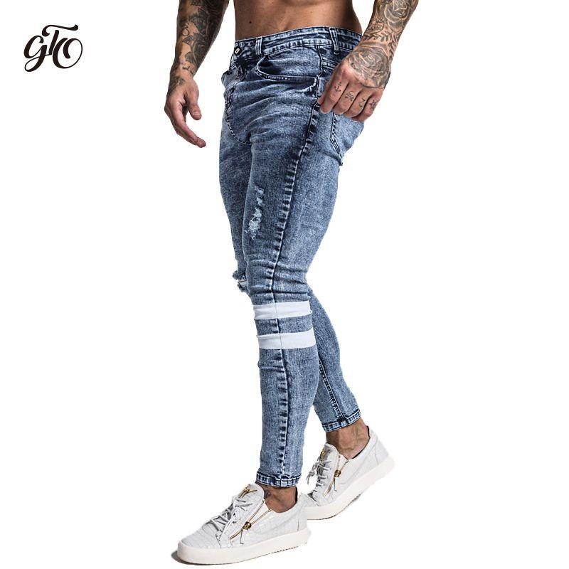 Gingtto 2019 Nouveau Jeans Slim homme Skinny Slim Fit Extensible Bleu Jeans grande taille Coton Léger Confortable hip hop Blanc Bande zm49