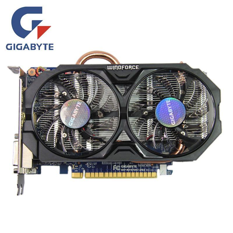 GIGABYTE GTX 750Ti 2 gb Video Karte 128Bit GDDR5 GV-N75TOC-2GI GTX 750 Grafiken Karten für nVIDIA Geforce GTX750 Ti Hdmi dvi Karten