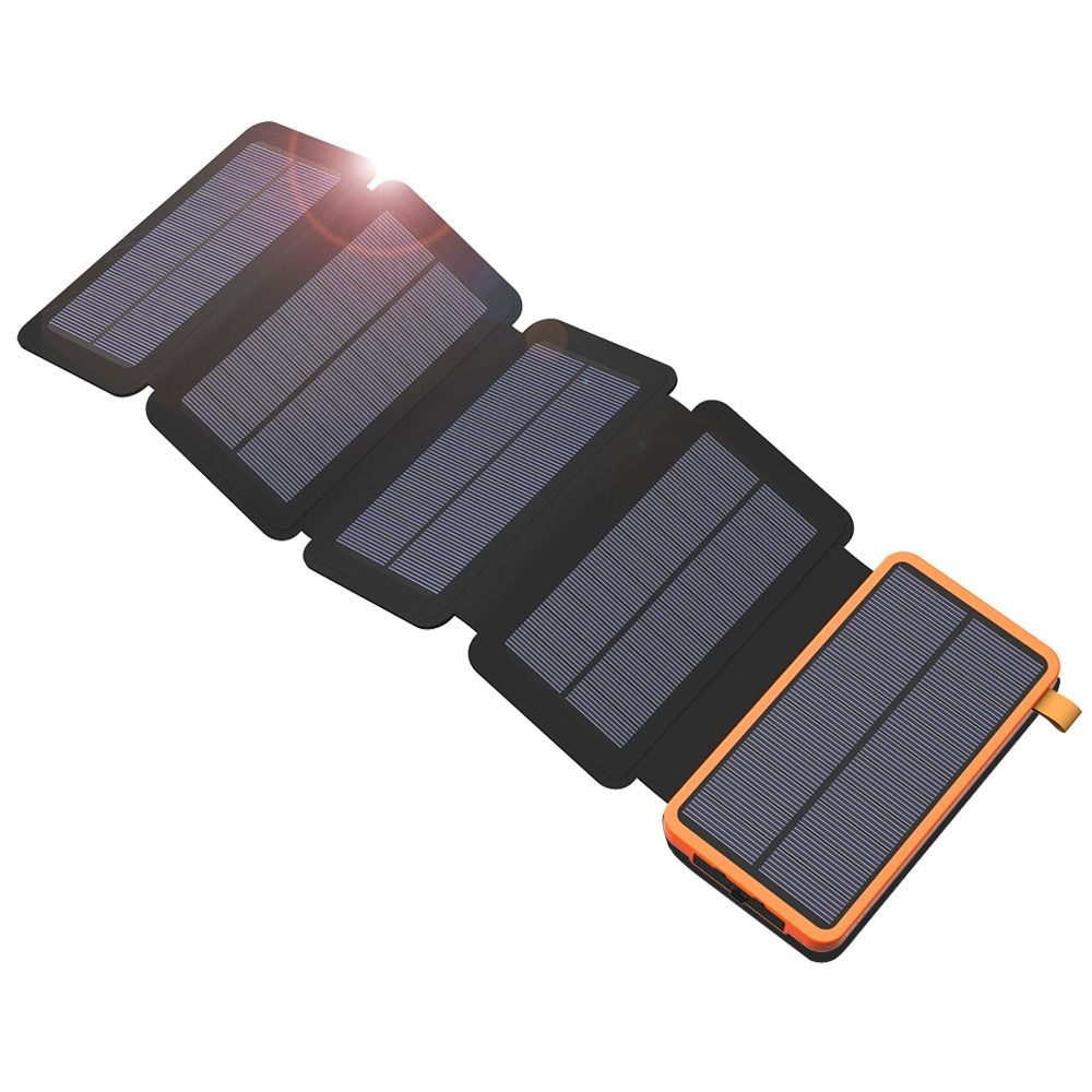 20000mAh Top Solar Power Bank Solar Charger 2 USB Ports External Charger Powerbank for Smartphone with LED Light