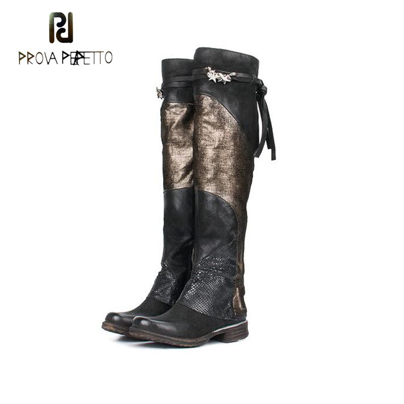 Prova Perfetto Women Over the Knee Boots Mixed Color Flat Martin Boot Autumn Winter Female Thigh High Boots Thick Bottom Shoes