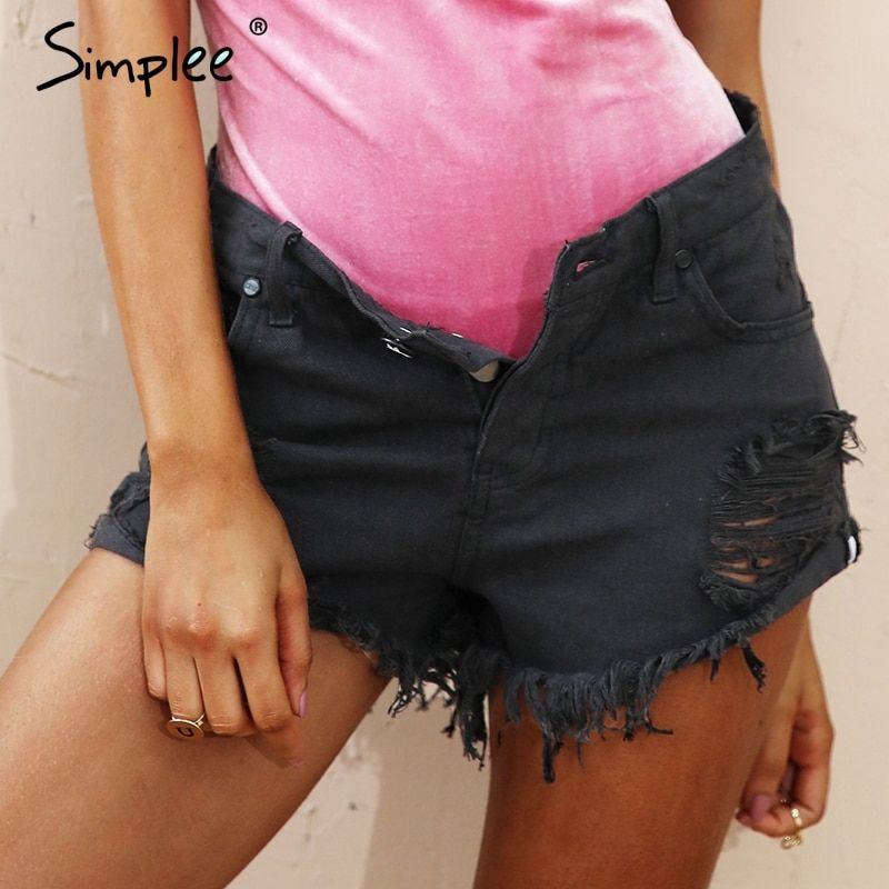 Simplee Apparel 50's Vintage ripped hole fringe blue denim shorts women Casual <font><b>pocket</b></font> jeans shorts 2016 summer girl hot shorts