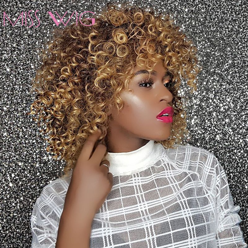 MISS WIG <font><b>16Inches</b></font> Long Afro Kinky Curly Wigs for Black Women Blonde Mixed Brown Synthetic Wigs African Hairstyle