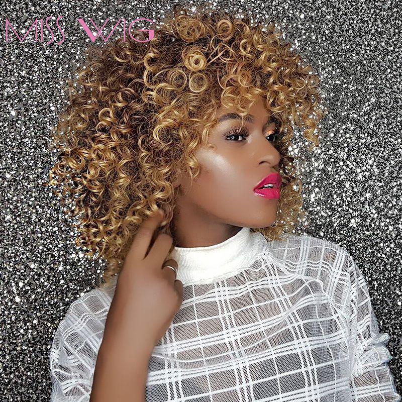 MISS perruque 16 pouces de Long Afro crépus bouclés perruques pour les femmes noires Blonde mixte brun perruques synthétiques coiffure africaine résistant à la chaleur