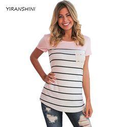 YIRANSHINI 2018 Nouveau Arrivent Les Femmes D'été O-cou T-shirts Femmes Rayé De Mode Lady Shorts Manches Tops LC250067-3