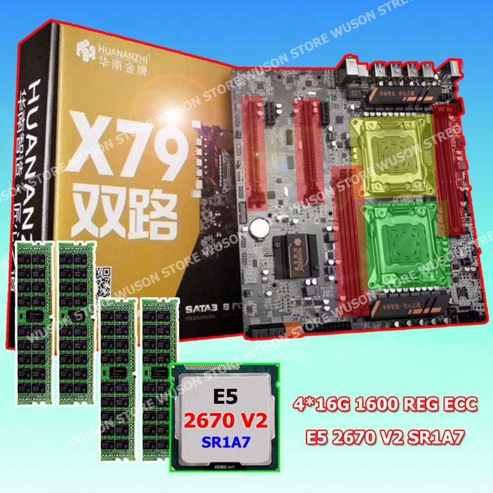 HUANAN ZHI X79 dual CPU motherboard computer assembly CPU Intel Xeon E5 2670 V2 SR1A7 2.5GHz RAM 64G(4*16G) DDR3 1600 REG ECC