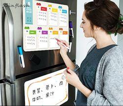 21*28 cm nevera suave Flexible pet luz tablero de mensajes pizarra notas magnéticos refrigerador impermeable 1 marcador y 2 botón