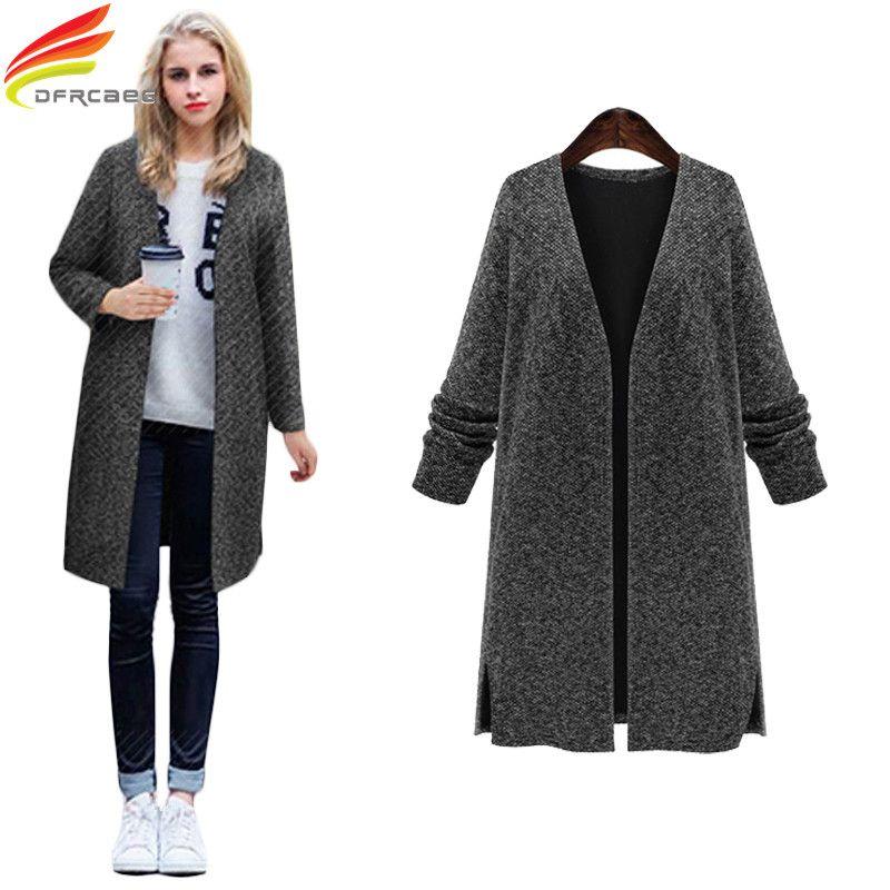 Grande taille 4XL 5XL automne hiver manteau femmes 2018 col en v Slim Cardigan Casaco Feminino tricoté femme longs manteaux survêtement